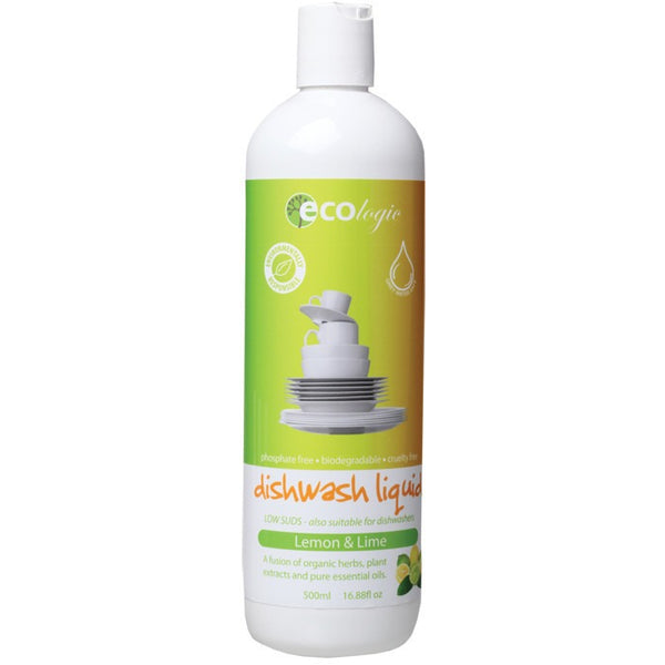 Ecologic Dishwash Liquid Lemon & Lime 500ml - Essentially Health Online Vegan Health Store Afterpay