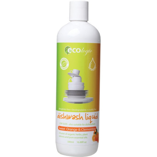 Ecologic Dishwash Liquid Sweet Orange & Clementine 500ml - Essentially Health Online Vegan Health Store Afterpay