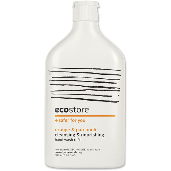 Ecostore Orange & Patchouli Hand Wash (Refill) 500ml - Essentially Health Online Vegan Health Store Afterpay