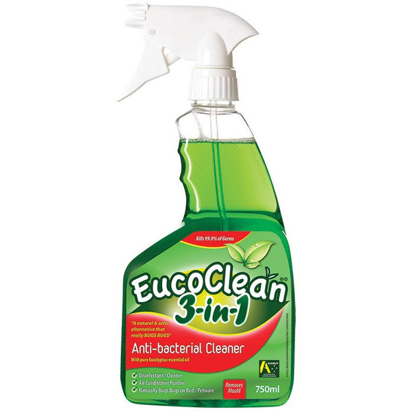 Eucoclean Anti-bacterial Cleaner 3-in-1 Disinfect/Clean/Bed Bugs 750ml - Essentially Health Online Vegan Health Store
