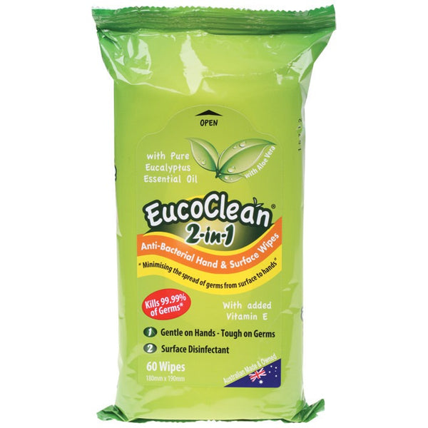 Eucoclean Wipes 2-in-1 Disinfect and Clean 60 pack - Essentially Health Online Vegan Health Store