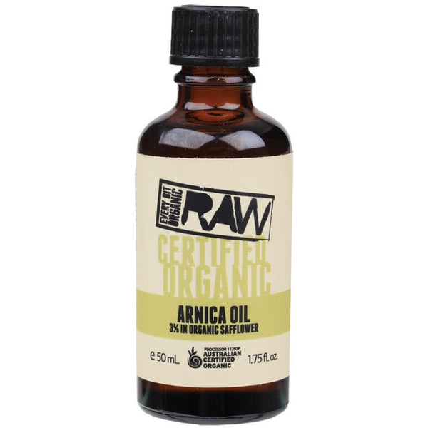 Every Bit Organic Raw Arnica Oil  50ml - Essentially Health Online Vegan Health Store