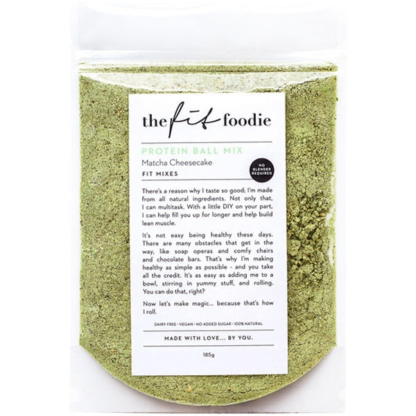 The Fit Foodie Matcha Cheesecake Vegan Protein Ball Mix 185g - Essentially Health Online Vegan Health Store