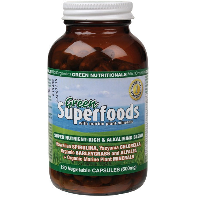 Green Nutritionals Green Superfoods VegeCaps (600mg) 120 caps - Essentially Health Online Vegan Health Store