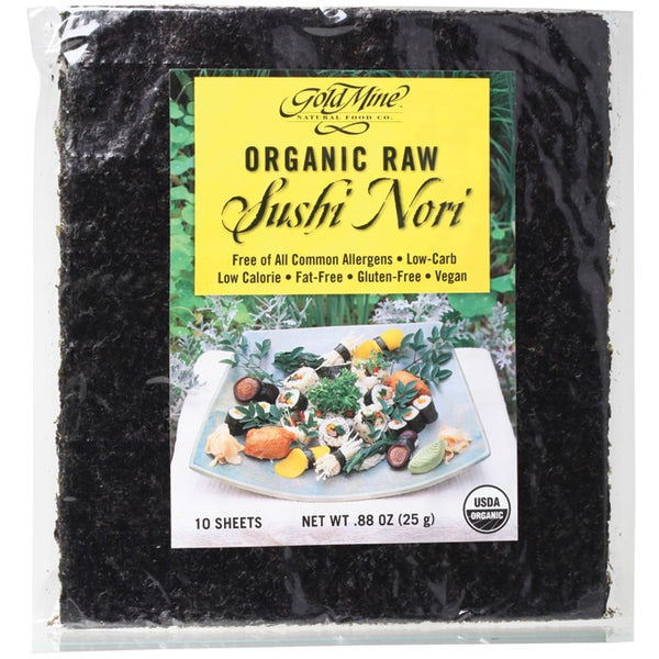 Gold Mine Sushi Nori Organic Raw (10 Sheets) 25g - Essentially Health Online Vegan Health Store