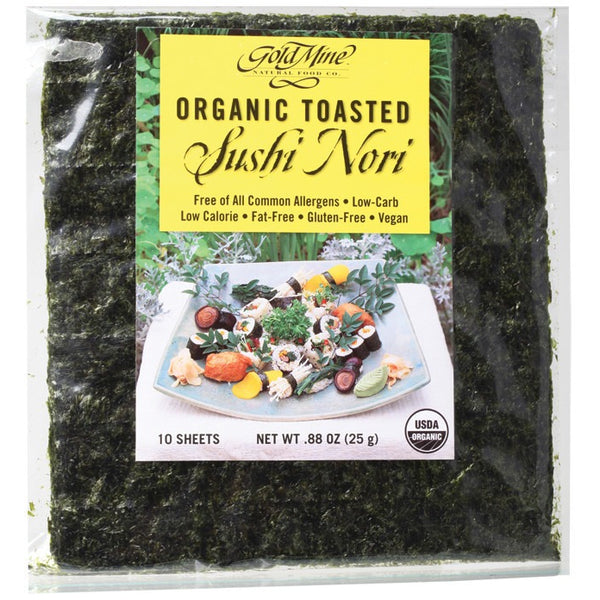 Gold Mine Sushi Nori Organic Toasted (10 Sheets) 25g - Essentially Health Online Vegan Health Store