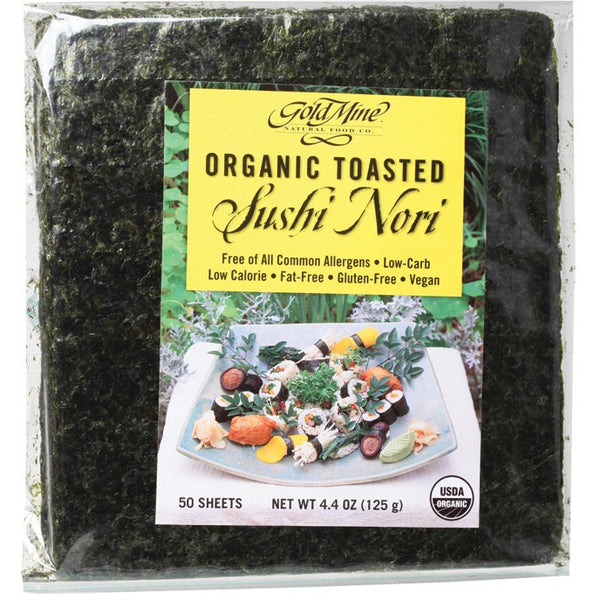 Gold Mine Sushi Nori Organic Toasted (50 Sheets) 125g - Essentially Health Online Vegan Health Store