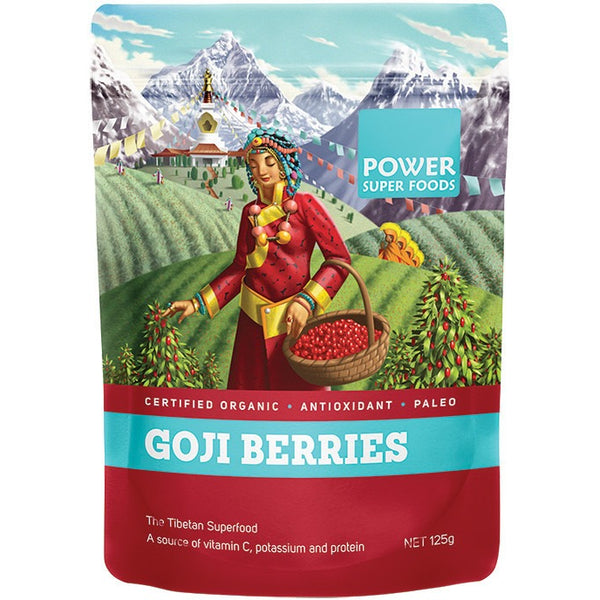 "Power Super Foods Goji Berries ""The Origin Series"" 125g - Essentially Health Online Vegan Health Store"