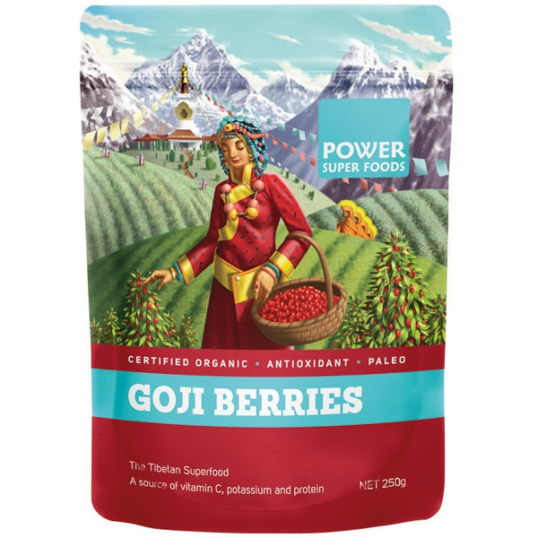 "Power Super Foods Goji Berries ""The Origin Series"" 250g - Essentially Health Online Vegan Health Store"
