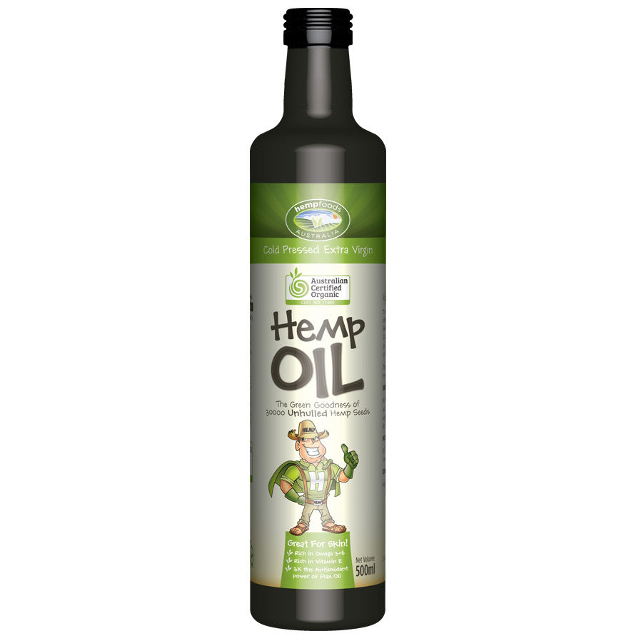 Hemp Foods Aust. Hemp Seed Oil Contains Omega 3, 6 & 9 500ml - Essentially Health Online Vegan Health Store Afterpay