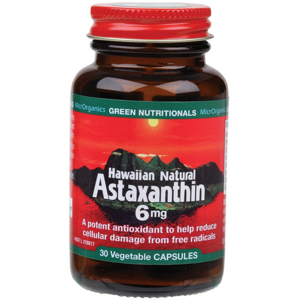 Green Nutritionals Hawaiian Natural Astaxanthin 30 VegeCaps (6mg) - Essentially Health Online Vegan Health Store Afterpay