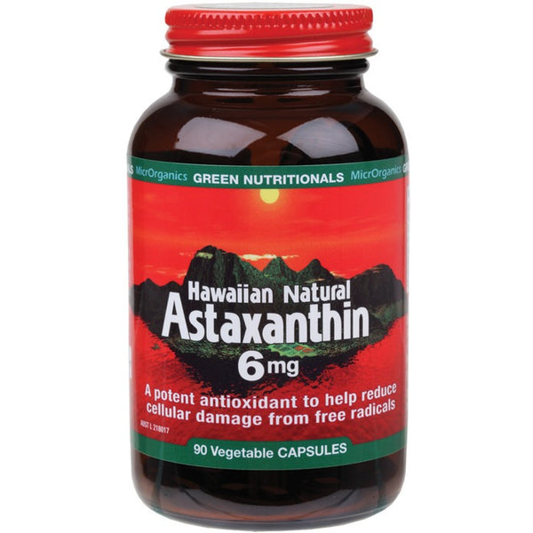 Green Nutritionals Hawaiian Natural Astaxanthin 90 VegeCaps (6mg) - Essentially Health Online Vegan Health Store