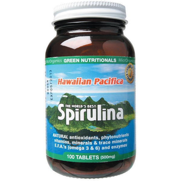 Green Nutritionals Hawaiian Pacifica Spirulina 100 Tablets (500mg) - Essentially Health Online Vegan Health Store