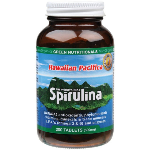 Green Nutritionals Hawaiian Pacifica Spirulina 200 Tablets (500mg) - Essentially Health Online Vegan Health Store