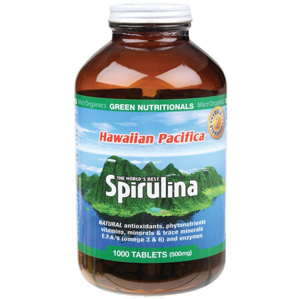 Green Nutritionals Hawaiian Pacifica Spirulina 1000 Tablets (500mg) - Essentially Health Online Vegan Health Store