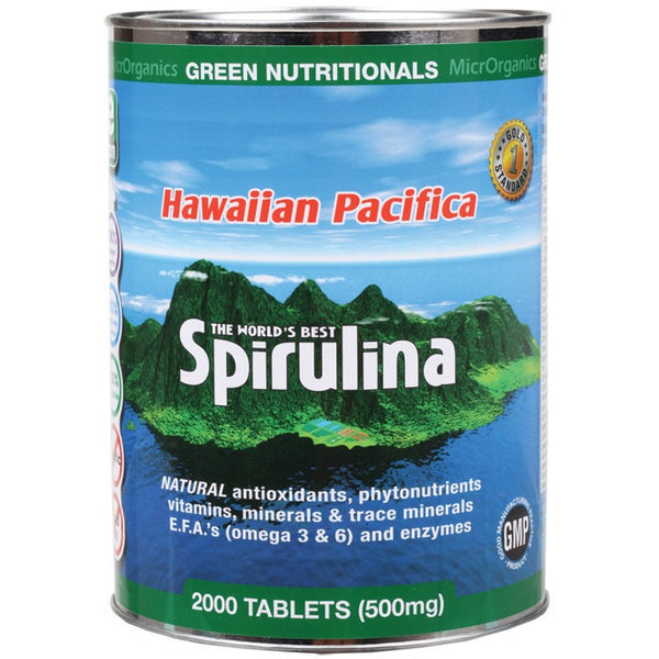 Green Nutritionals Hawaiian Pacifica Spirulina 2000 Tablets (500mg) - Essentially Health Online Vegan Health Store
