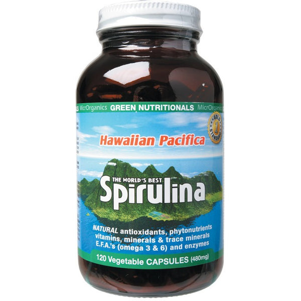 Green Nutritionals Hawaiian Pacifica Spirulina 120 VegeCaps (500mg) - Essentially Health Online Vegan Health Store