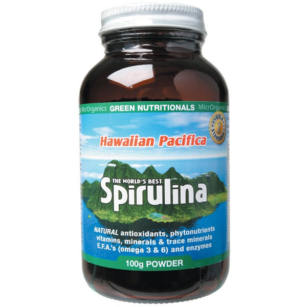 Green Nutritionals Hawaiian Pacifica Spirulina Powder 100g - Essentially Health Online Vegan Health Store