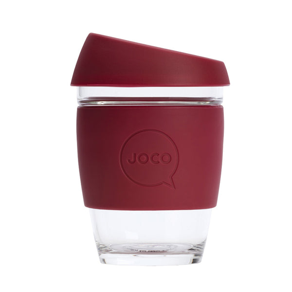 JOCO Reusable Glass Cup Regular 12oz - Ruby Wine 354ml - Essentially Health Online Vegan Health Store Afterpay