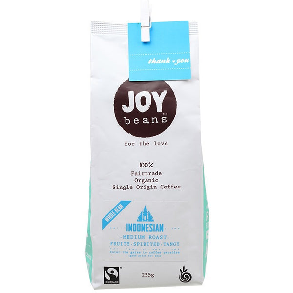 Joy Beans Indonesian Medium Roast (Whole Bean) 225g - Essentially Health Online Vegan Health Store Afterpay