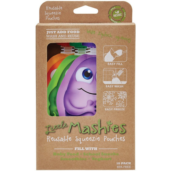 Little Mashies Reusable Squeeze Pouch Pack of 10 - Mixed Colours 10x130ml - Essentially Health Online Vegan Health Store