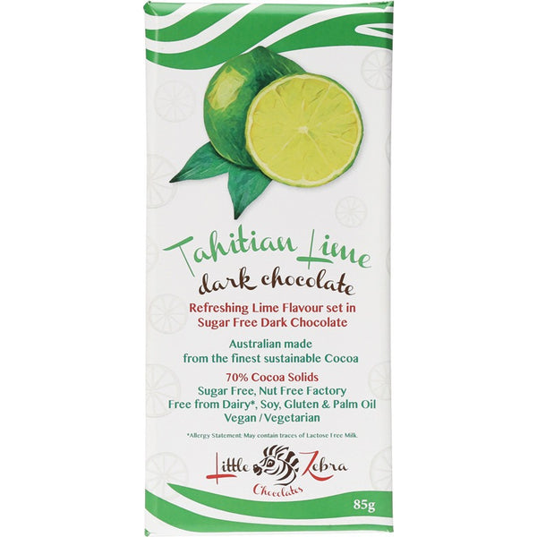 Little Zebra Tahitian Lime Sugar Free Dark Chocolate - 85g - Essentially Health Online Vegan Health Store Afterpay