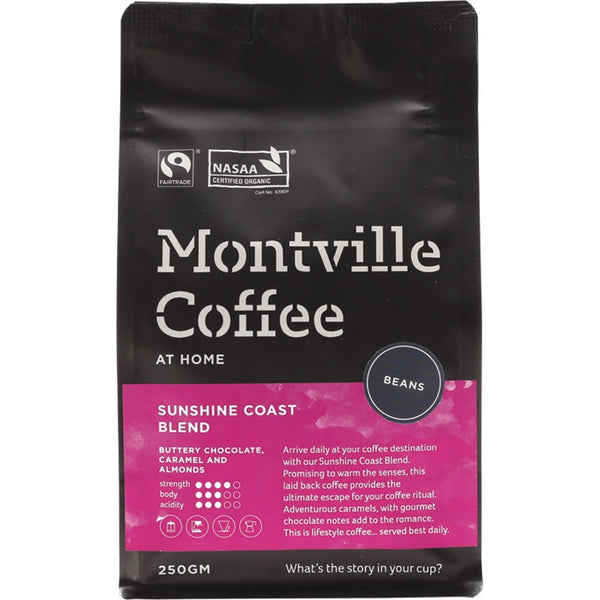 Montville Coffee Coffee Beans Sunshine Coast Blend 250g - Essentially Health Online Vegan Health Store Afterpay