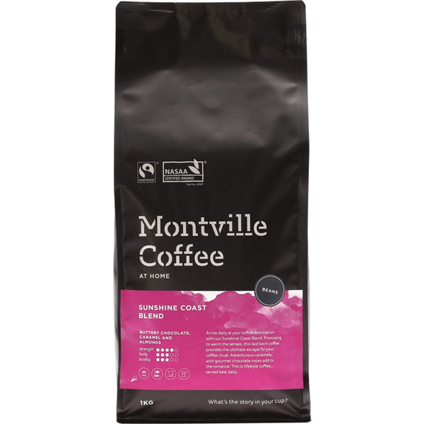 Montville Coffee Coffee Beans Sunshine Coast Blend 1kg - Essentially Health Online Vegan Health Store Afterpay