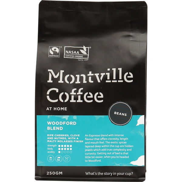 Montville Coffee Beans Woodford Blend - 250g - Essentially Health Online Vegan Health Store Afterpay