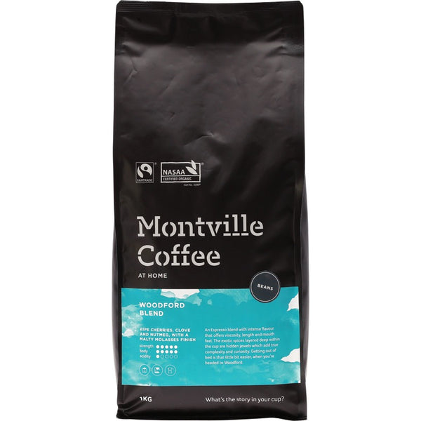 Montville Coffee Beans Woodford Blend - 1kg - Essentially Health Online Vegan Health Store Afterpay