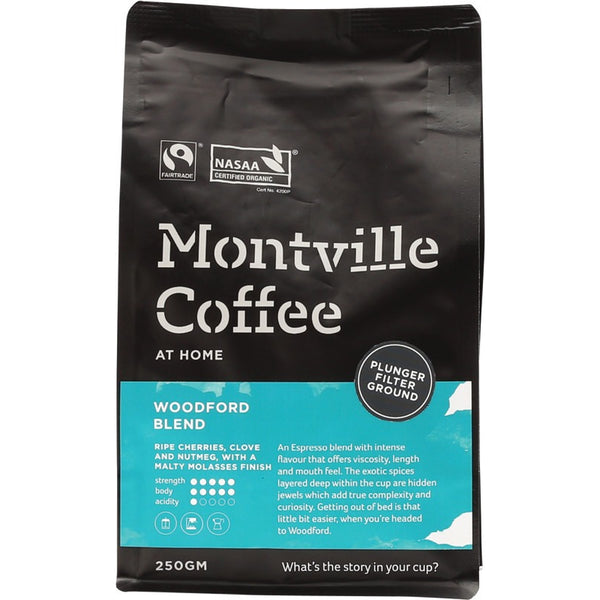 Montville Coffee Ground (Plunger) Woodford Blend - 250g - Essentially Health Online Vegan Health Store Afterpay