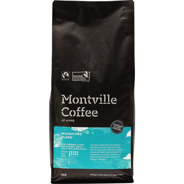 Montville Coffee Ground (Plunger) Woodford Blend - 1kg - Essentially Health Online Vegan Health Store Afterpay