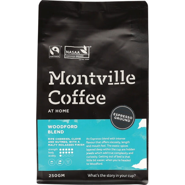 Montville Coffee Ground (Espresso) Woodford Blend - 250g - Essentially Health Online Vegan Health Store Afterpay