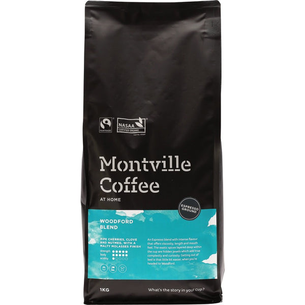 Montville Coffee Ground (Espresso) Woodford Blend - 1kg - Essentially Health Online Vegan Health Store Afterpay