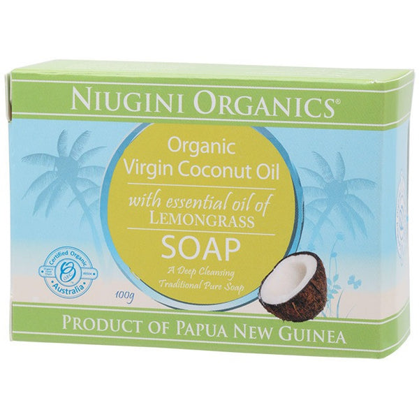 Niugini Organics Soap Coconut Oil - Lemongrass 100g - Essentially Health Online Vegan Health Store