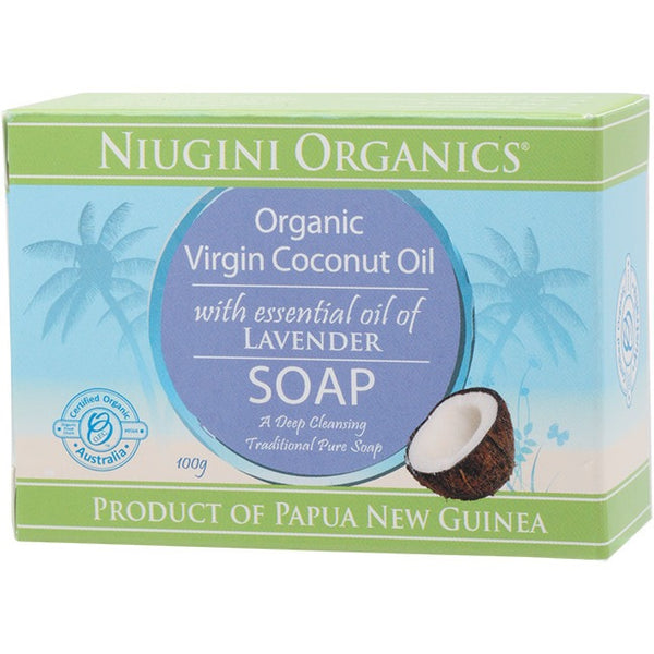 Niugini Organics Soap Coconut Oil - Lavender 100g - Essentially Health Online Vegan Health Store Afterpay