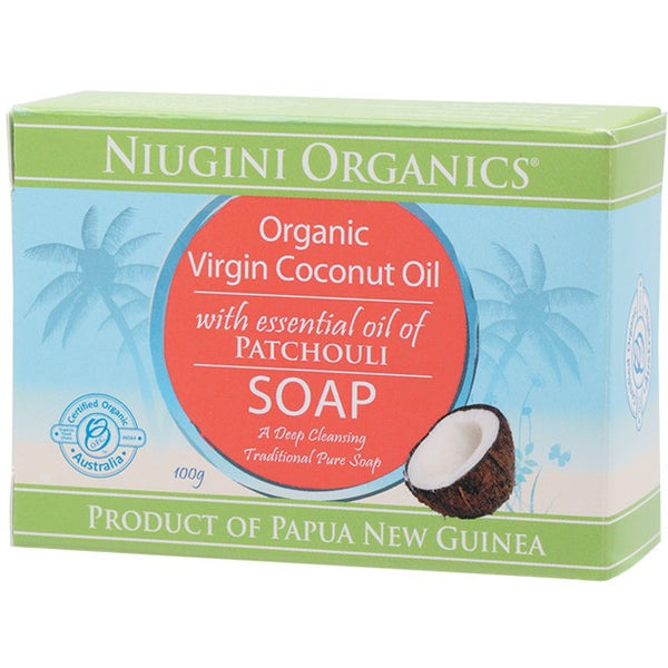 Niugini Organics Soap Coconut Oil - Patchouli 100g - Essentially Health Online Vegan Health Store Afterpay