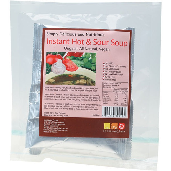 Nutritionist Choice Instant Hot & Sour Soup Pack of 4 Sachets 4x20g - Essentially Health Online Vegan Health Store