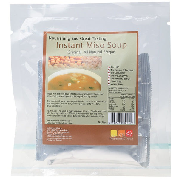 Nutritionist Choice Instant Miso Soup Pack of 4 Sachets 4x20g - Essentially Health Online Vegan Health Store