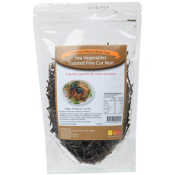 Nutritionist Choice Sea Vegetables Toasted Fine Cut Nori 25g - Essentially Health Online Vegan Health Store