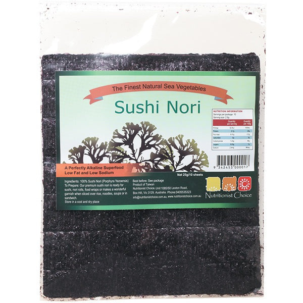 Nutritionist Choice Sushi Nori 10 Sheets 25g - Essentially Health Online Vegan Health Store