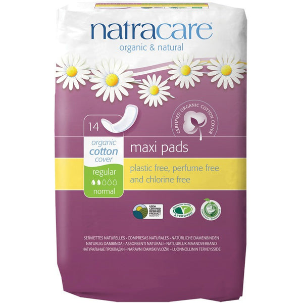 Natracare Maxi Pads Regular (14 pack) - Essentially Health Online Vegan Health Store