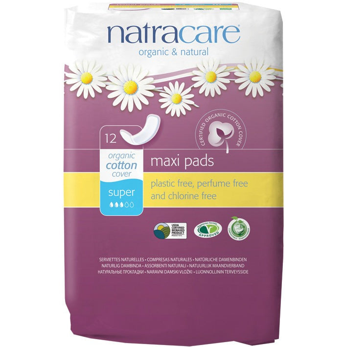Natracare Maxi Pads Super (12 pack) - Essentially Health Online Vegan Health Store