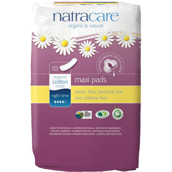Natracare Maxi Pads Night Time (10 pack) - Essentially Health Online Vegan Health Store