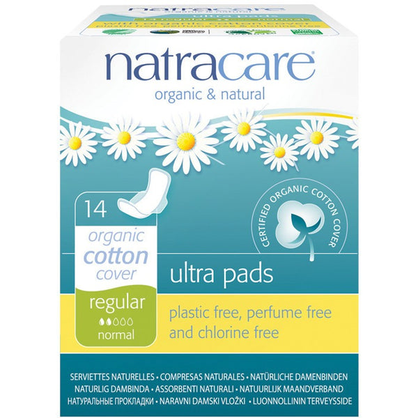 Natracare Ultra Pads Regular (Wings) (14 pack) - Essentially Health Online Vegan Health Store