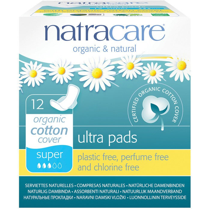Natracare Ultra Pads Super (Wings) (12 pack) - Essentially Health Online Vegan Health Store