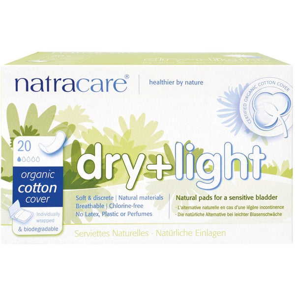 Natracare Incontinence Pads Dry & Light (20 pack) - Essentially Health Online Vegan Health Store