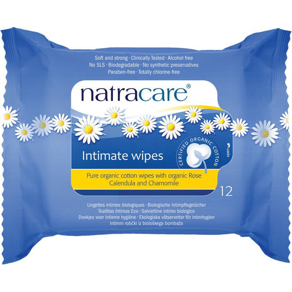 Natracare Intimate Wipes 100% Organic Cotton (12 pack) - Essentially Health Online Vegan Health Store
