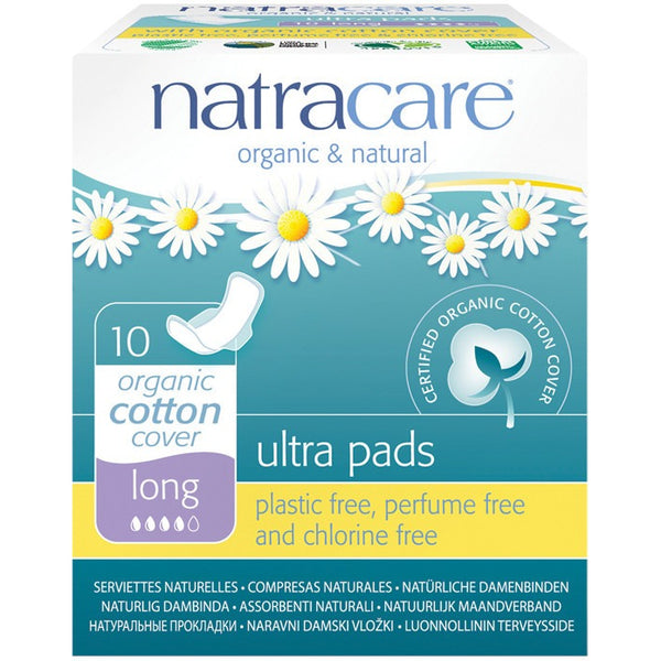 Natracare Ultra Pads Long (Wings) (10 pack) - Essentially Health Online Vegan Health Store