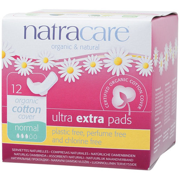 Natracare Ultra Extra Pads Normal (Wings) 12 - Essentially Health Online Vegan Health Store